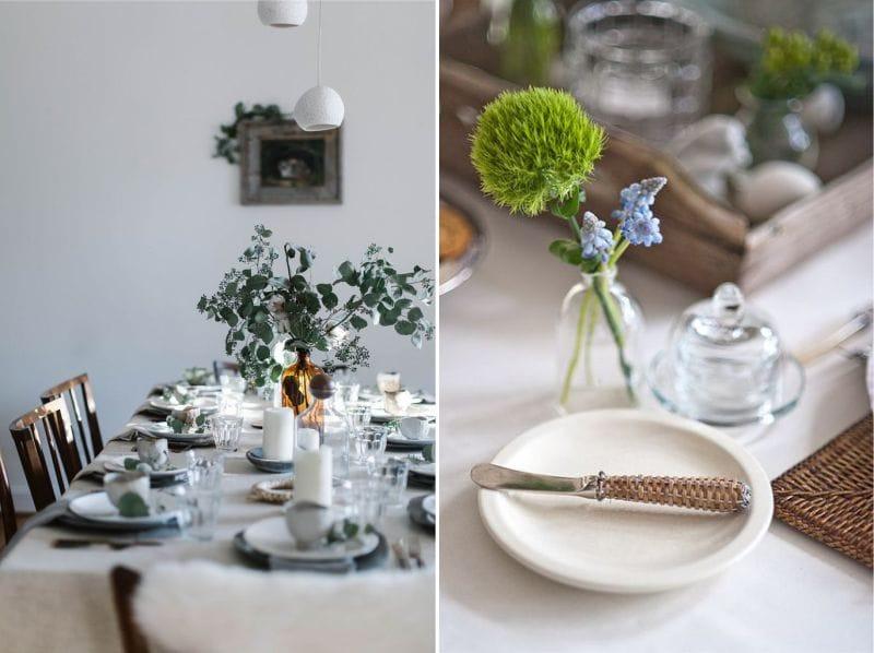 Полевые цветы и растения в сервировке праздничного стола