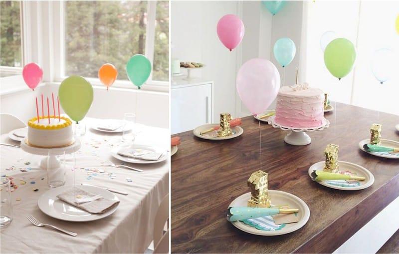 Праздничная сервировка шариками на день рождения