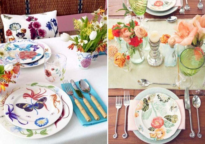 Сервировка на день рождения с цветочными мотивами