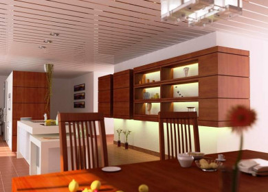 Реечный потолок на кухне: плюсы и минусы, типы, монтаж