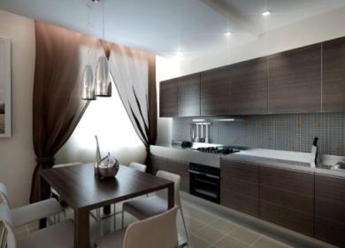 Освещение на кухне с натяжным потолком: расположение светильников,