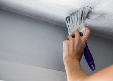 Как и чем покрасить потолок на кухне: фото и видео инструкция