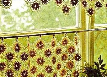 Вязаные шторы для кухни – когда рукам не лежится на месте