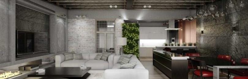 Кухня-гостиная в стиле лофт: примеры интерьеров, мебели и отделки