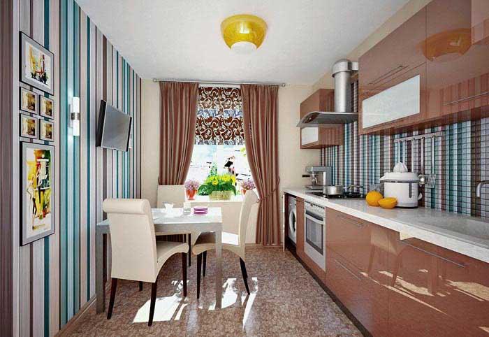 Дизайн полосатой кухни